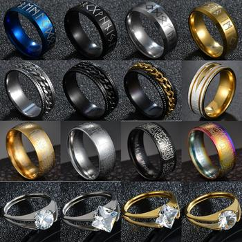 316L Stainless steel Odin Norse Viking Rings Amulet Rune Fashion Style Big Zircon Finger Ring for men & women image