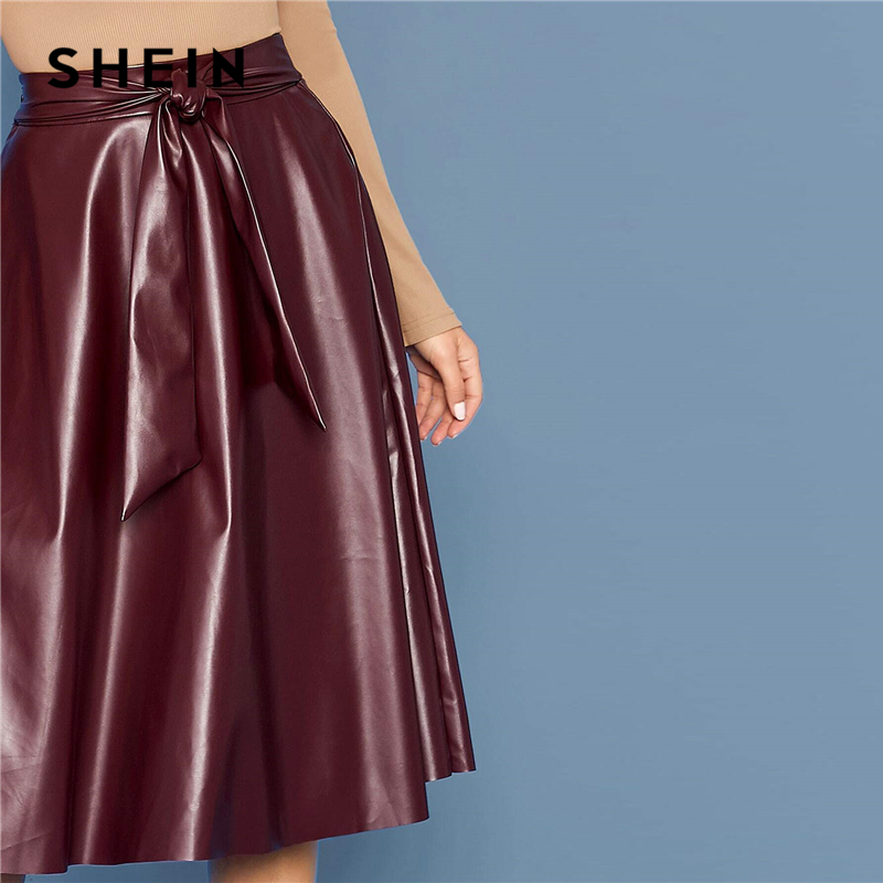 SHEIN Burgundy Tie Waist Faux Leather Flare Skirts Womens Spring Autumn High Waist Office Ladies A Line Elegant Long PU Skirt 2