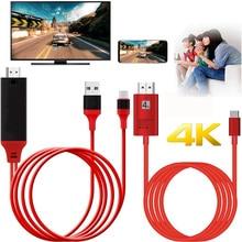 4K 1080P typ C telefon do telewizora kabel HDMI Adapter USB C przewód wideo dla MacBook dla Samsung galaxy S8 S9 S10 dla Huawei Android