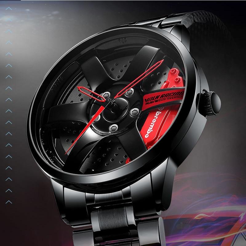 NIBOSI Men Rim Hub Watch Custom Design Sport Car Rim Mens Watches Waterproof Creative Relogio Masculino Watch Men Wrist Watch