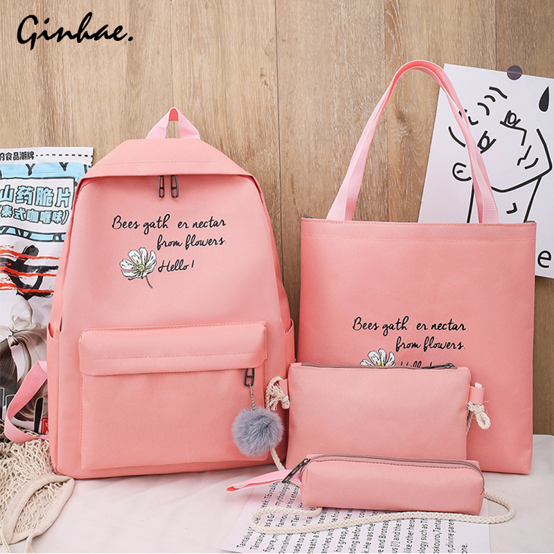 4 Pcs/Set Canvas Backpack Female Travel Flower Rucksack Women Casual Letter School Bags For Teenage Girls Preppy Style Book Bags