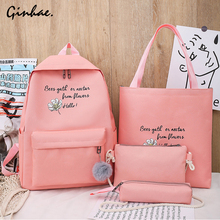 4 Pcs/Set Canvas Backpack Female Travel Flower Rucksack Women Casual Letter School Bags For Teenage Girls Preppy Style Book Bags casual vintage canvas backpack for women unique drawstring flap bags preppy style rucksacks for girls black button school bags