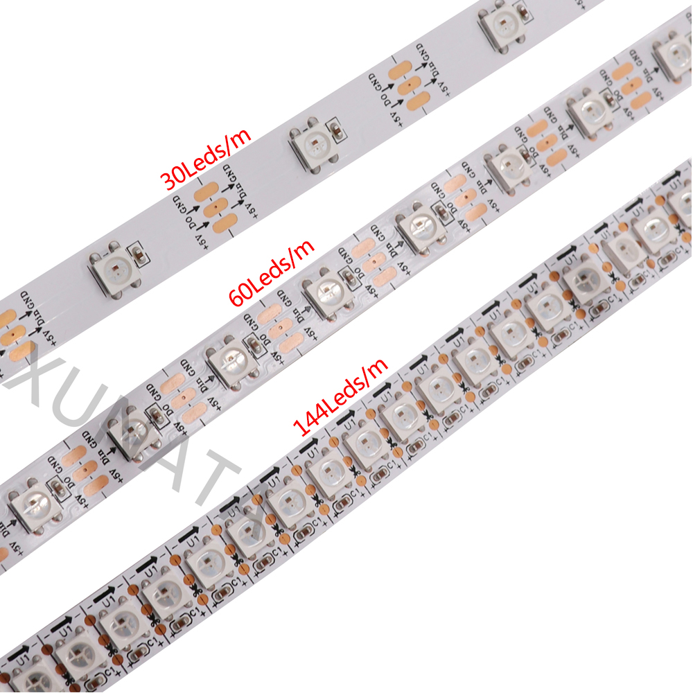 1M 5M Addressable LED Strip <font><b>WS2812B</b></font> 5050 RGB Full Color Led Pixel Light <font><b>DC5V</b></font> 60LEDs/m Waterproof Flexible Led Strip Lamp image
