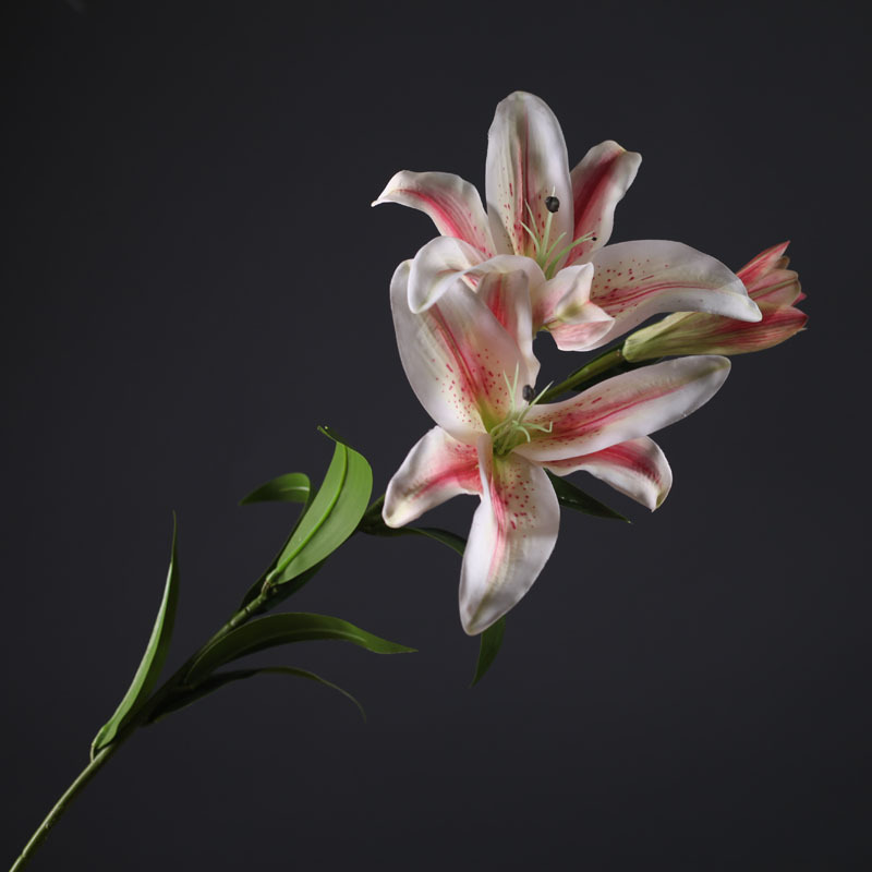88cm Pink Lily Artificial Flowers 2 Big flowers 1 Bud lily branch Wedding and Home Decoration