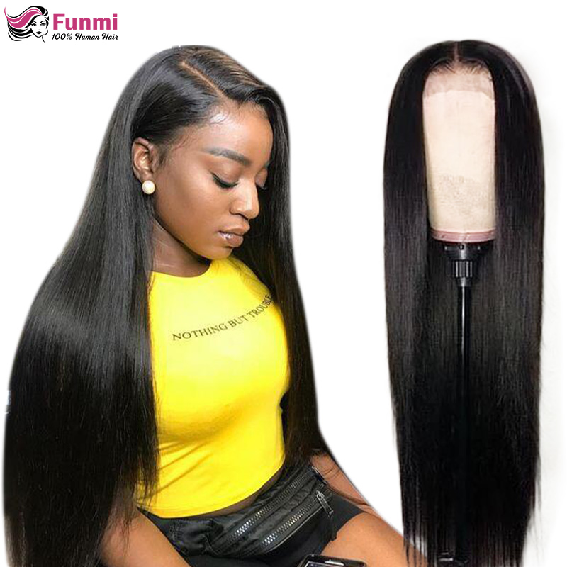 FUNMI HAIR Straight Lace Front Wig Remy 360 Lace Frontal Wig 150% Density 13X4/13X6 Malaysian Straight Lace Front Human Hair Wig