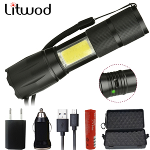Litwod Z20103 XM-L T6 Micro USB Port Rechargeable LED Flashlight Torch Lantern Shock Resistant Hard Light Self Defense LED Bulbs