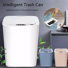 14L Smart Trash Can Automatic Infrared Sensor Dustbin Home Garbage Bin White Home Intelligent Electric Garbage