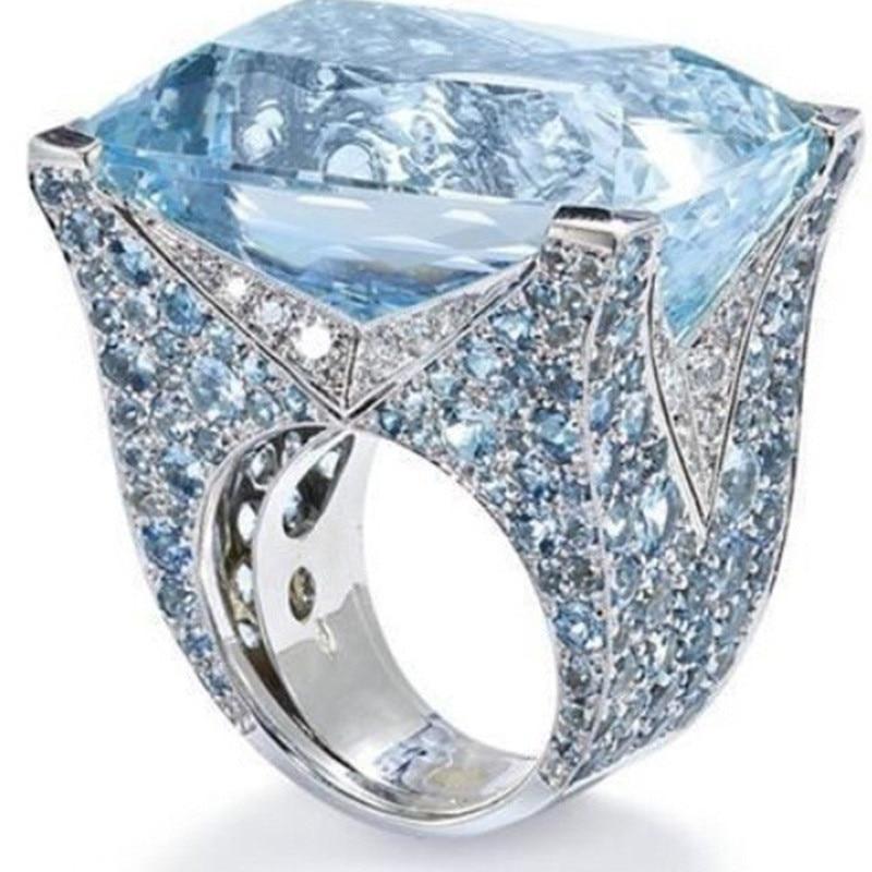 Роскошные Синие стразы, циркониевые кольца для женщин, винтажное ювелирное изделие, серебряное кольцо, женское богемное большое кольцо, Жен...