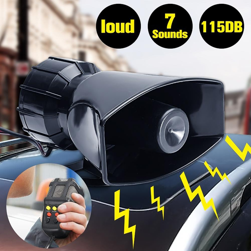 12V Loud Air Horn Siren for Car Boat Van Truck 7 Sounds PA System Mic 115db