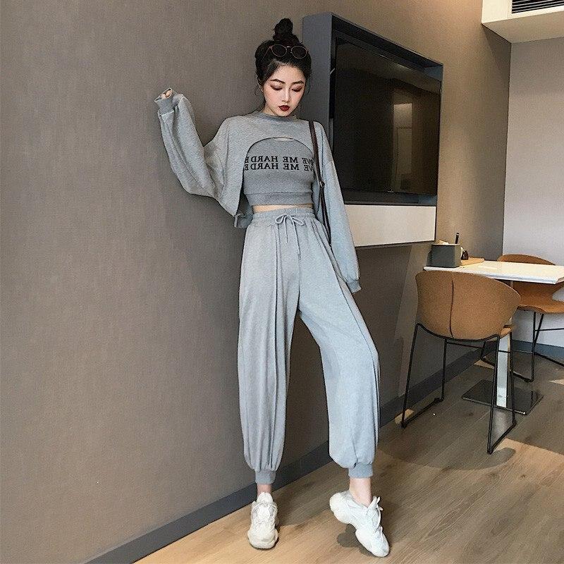Spring Autumn New Novel Chic Letter Print Women Sets Korean Style Tops Vest Pants 3 Pieces Sets Black White XXL*