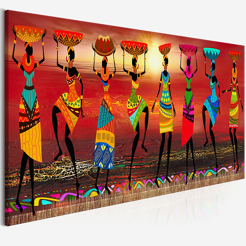 Cuadros Etnicos Tribal Art Paintings African Women Dancing Oil Painting Picture for Living Room Canvas Print Home Decor No Frame