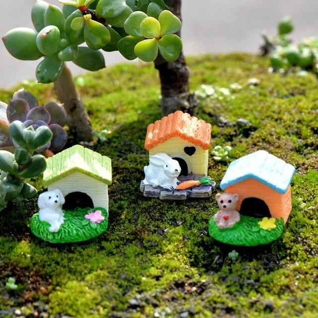 Résine chien ours Animal Mini maison maison bâtiment Micro fée jardin Figurines Miniatures/Terrarium maison de poupée décor ornements bricolage