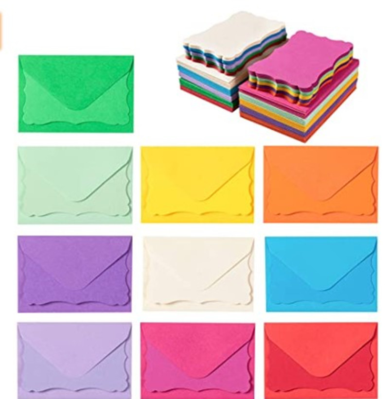 100 Mini Envelopes with Blank Note Cards, Assorted Colors 3.7