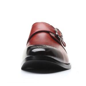Image 3 - を2020男性は靴手作りブリティッシュブローグスタイルパティ革の結婚式の靴メンズフラットレザーオックスフォード