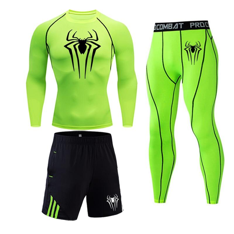 Мужская одежда компрессионная мужская футболка + леггинсы Рашгард комплект с длинными рукавами топ для фитнеса мужской спортивный костюм