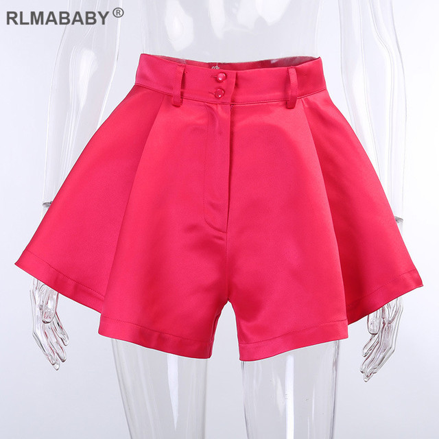 Summer Solid Wide Leg Shorts Button High Waist Shorts High Street Sexy Women Shorts Bottoms Fashion Streetwear Loose Lady Shorts 5