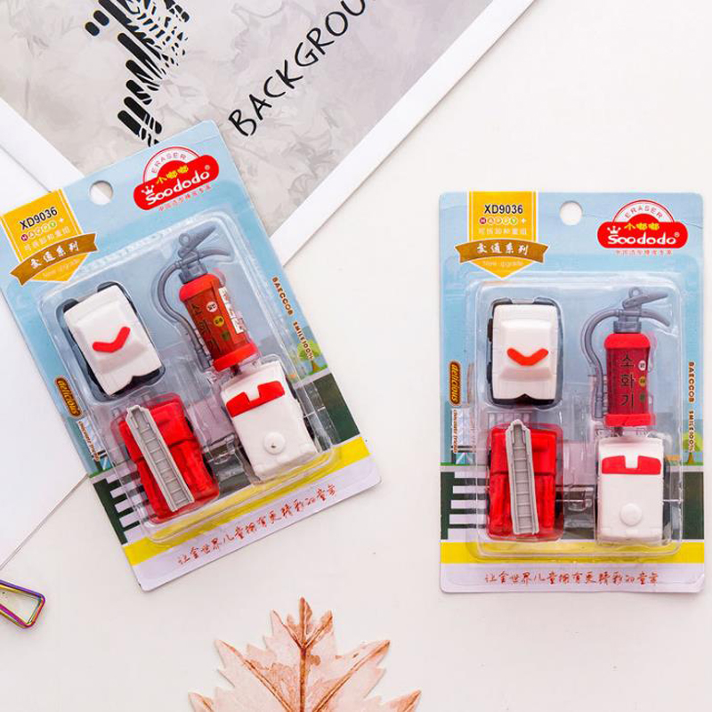 4 Pcs/pack Cute Fire Truck Eraser Fire Extinguisher Rubber Pencil Erasers Korean Stationery School Papelaria Kids Gifts