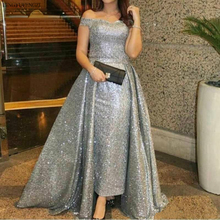Silver Sequined Mother of The Bride Dresses Gowns Evening Dresses Off Shoulder Capped Sleeveless Prom Overskirt Plus Size Origin