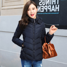 KMVEXO 2019 Winter Thick Solid Jacket Women Autumn Hooded Short Padded Outwear Female Coat Slim Parka Abrigos Mujer Invierno