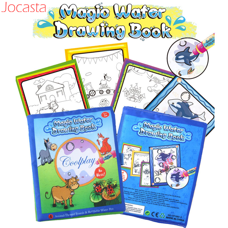 4 Styles Baby Magic Water Drawing Books With Doodle Pen Animals Marine Organism Pattern Painting Board Educational Toys For Kids