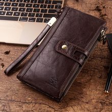 Free Engraving 100% Genuine Leather Men Wallet Coin Purse Female Lady Long Handy Card Holder Clutch for Fashion Vintage Strap