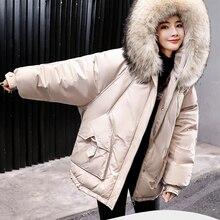 Меховая теплая парка с капюшоном, хлопковая одежда для женщин, новинка, зимняя Корейская версия, свободное модное хлопковое пальто, повседневные теплые куртки