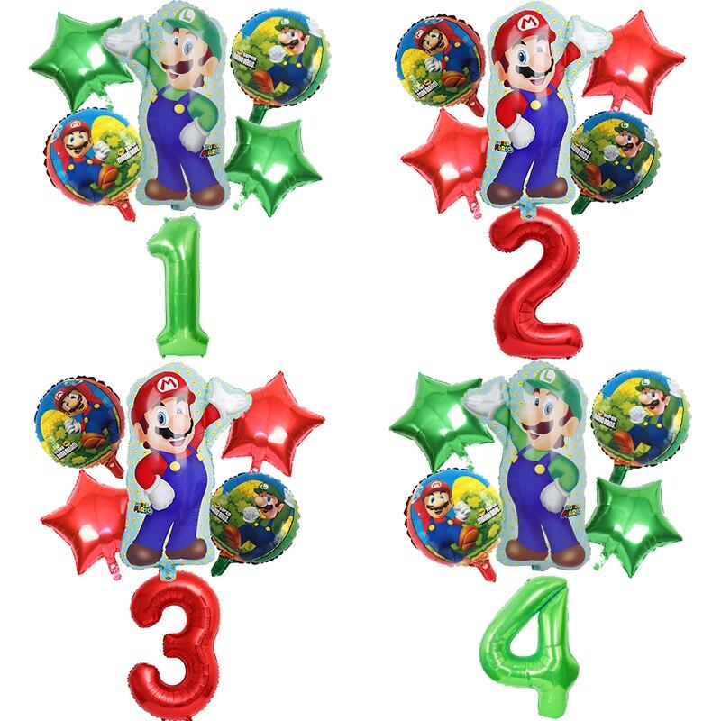 6 шт Супер Марио фольга гелиевые шары 32 дюйма количество шары мальчик девочка день рождения Братья Марио и Луиджи майлар воздушный шар Декор...