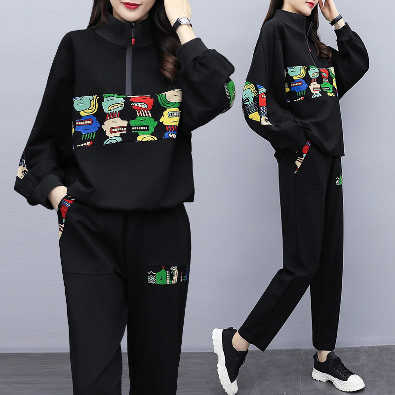 Women Clothes 2019 New Black Top And Pants Two Piece Outfits Plus Size Tracksuit Women Sweat Suits Women Lounge Wear
