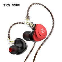 TRN V90s 5BA 1DD Hybrid Driver In Ear Earphone HIFI Monitor Running Sport Earphone with 2PIN OCC Pure Copper Cable Detachable cheap Dilvpoetry Ear Hook NONE Hybrid technology CN(Origin) Wireless+Wired Bluetooth L Bending Detachable Cable Other