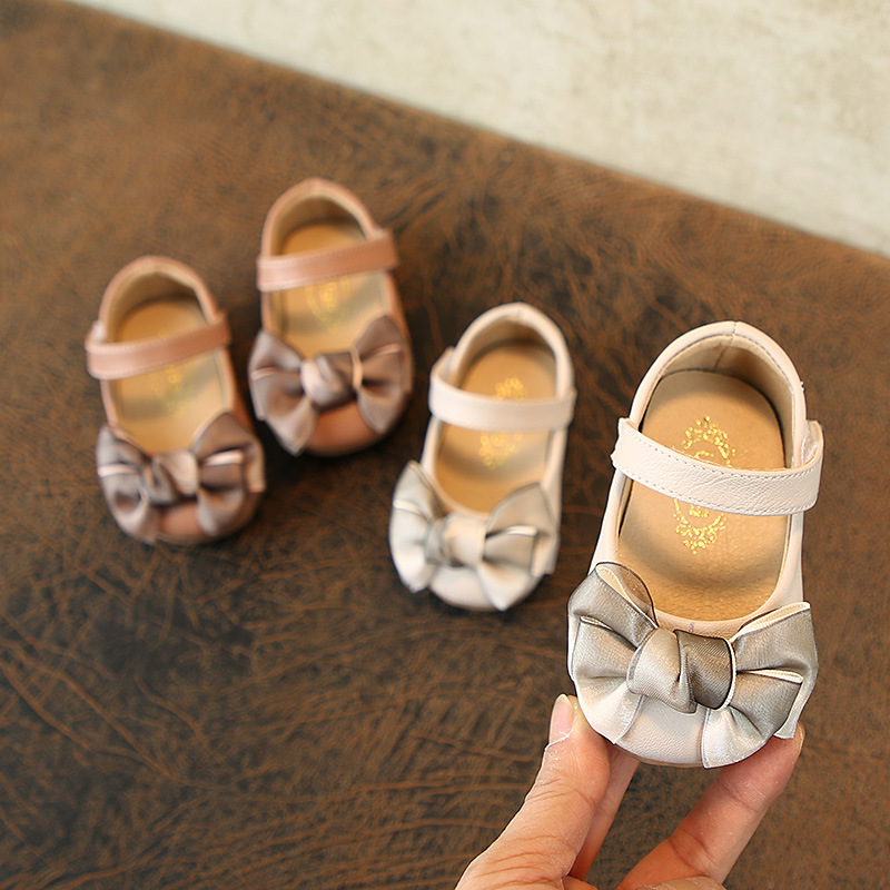 Spring Bow Girls Princess Shoes Soft Bottom Non-slip Baby Toddler Shoes Baby Leather Shoes