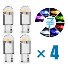 4xnew cob led w5w t10 carro de vidro puro lâmpada 6000k branco auto automóveis placa de licença lâmpada dome luz leitura estilo drl 12v