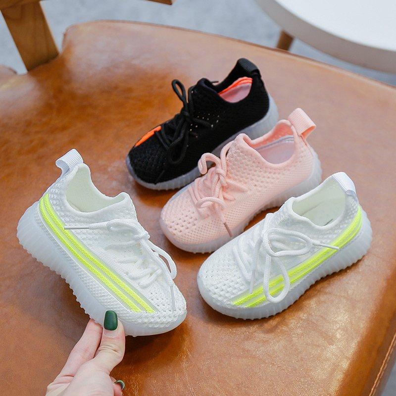 Girls Shoes 2020 New Fashion Boys Shoes Toddler Girls Mesh Luminous Soft Sneakers Non-slip Sport Running Tennis Sneakers Kids