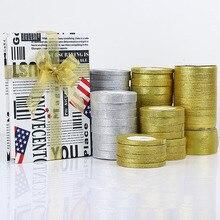 22 метра/рулон 0,6-5 см золото серебро шелк атлас органза ленты для свадьбы декоративные DIY вышитые лук ленты лук подарочные принадлежности
