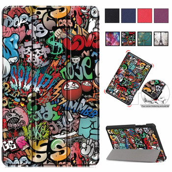 For Xiaomi Mi Pad4 Pad 4 Plus Flip Print Case Sleep Wake Stand Slim Magnetic Smart Cover 10.1 Tablet PC+PU Leather Cover original xiaomi bn80 tablet battery for xiaomi pad4 plus tablet 4 pad4 plus 8620mah