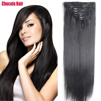 """Chocola Full Head Brazilian Machine Made Remy Hair 8pcs Set 140g 16""""-28"""" Natural Straight Clip In Human Hair Extensions"""