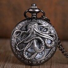 Pocket-Watch Chain with Necklace Gift for Kid Men Women Octopus Quartz Half-Hunter Black