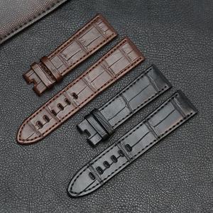 Image 3 - Bracelets de montre en cuir véritable peau dalligator Pesno bracelet de montre en peau de veau marron noir adapté à Montblanc Timewalker Stat