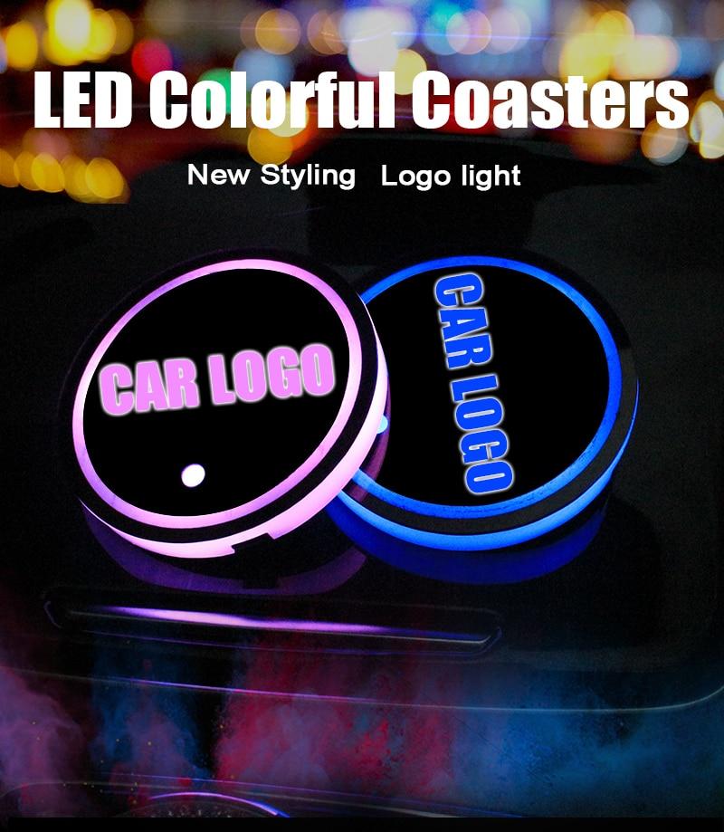 NEW VERSION Switchable 7 Color LED LIGHT Car Cup Holder Bottom For CHRYSLER