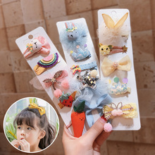 M MISM 1Pack=5pcs Cute Cartoon Children Hairpins Barrettes Set  Bow Rabbit Hair Clips Elastic Band Kids Accessories
