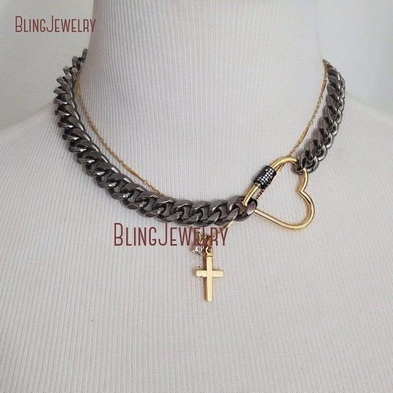 Черный родий цепочка чокер золото окунутое Сердце застежка CZ Проложить Винт Застежка ожерелье NM28260
