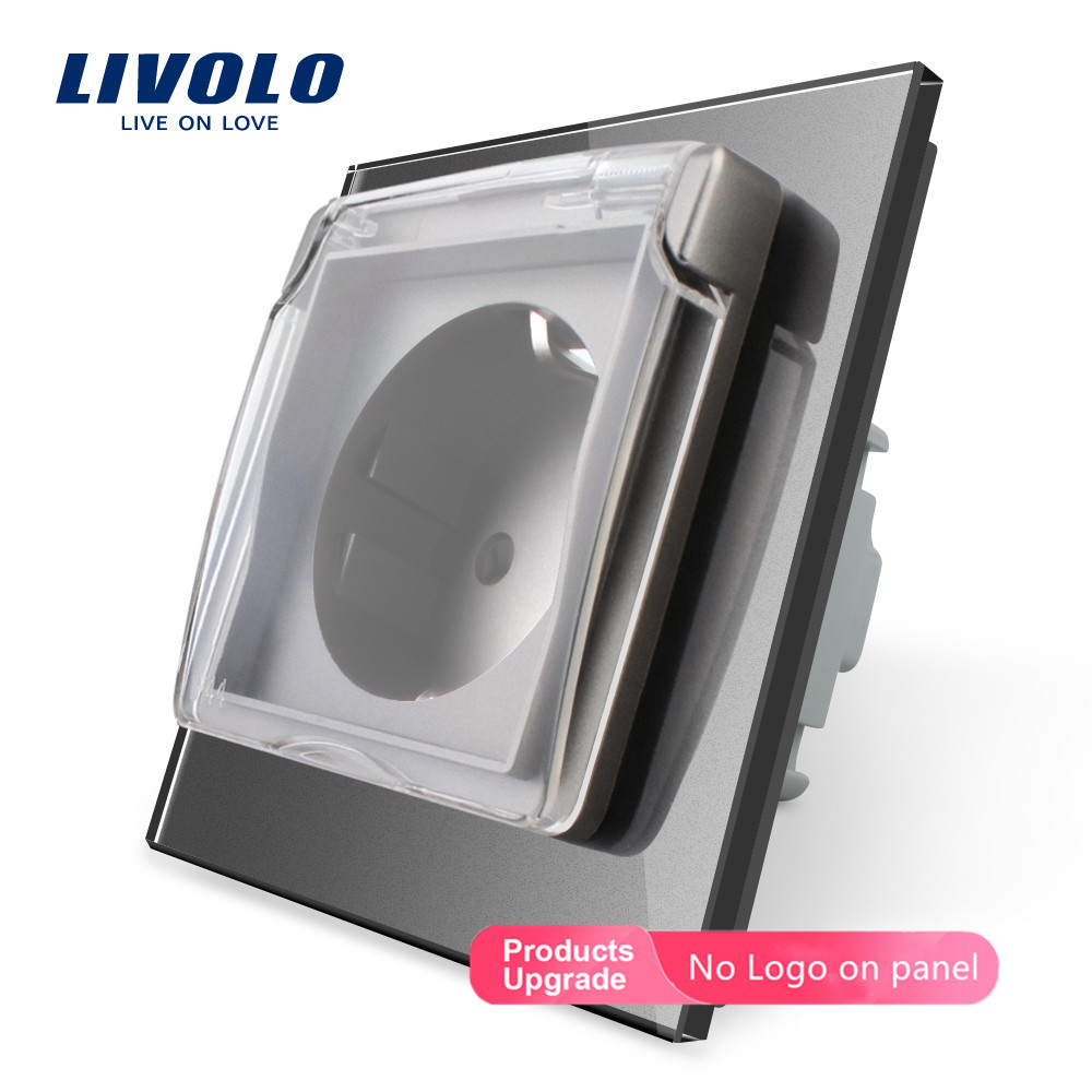 Livolo EU Standard Waterproof Power outlet with 2 pins ,Glass Panel, Wall Socket,AC110~<font><b>250V</b></font> <font><b>16A</b></font> wall plug with waterproof cover image