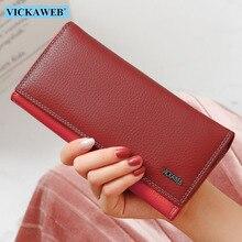 VICKAWEB ผู้หญิงกระเป๋าสตางค์หญิงยาว Patchwork หนังแท้กระเป๋าเงินสุภาพสตรีแฟชั่นกระเป๋าสตางค์ผู้หญิง Hasp และซิปกระเป๋าเหรียญ