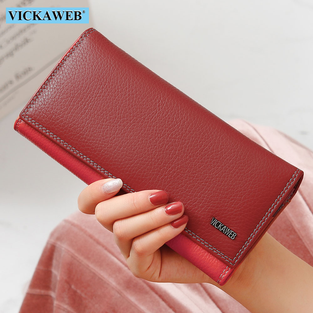 VICKAWEB Women Wallet Female Long Patchwork Genuine Leather Money Purse Ladies Fashion Wallets Woman Hasp & Zipper Coin Purses
