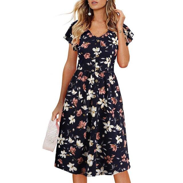 Women Dress 2020 Summer V-neck Floral Print Chiffon Dress Boho Style Short Party Beach Dresses Vestidos de fiesta 1