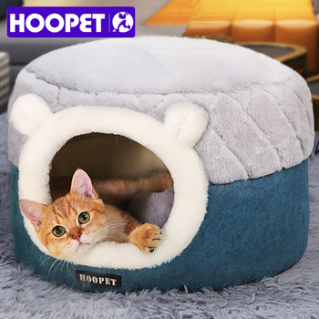 HOOPET Cat Bed House Soft Plush Kennel Puppy Cushion Small Dogs Cats Nest Winter Warm Sleeping Pet Dog Bed Pet Mat Supplies pet house bed tent cat nest folding villa dog kennel indoor warm sleeping mat soft yurt winter puppy cave sofa pet supplies
