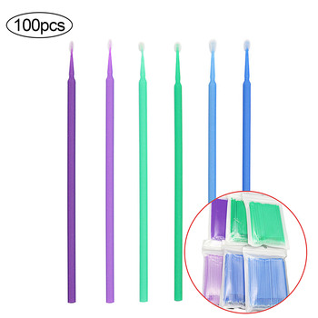 100PCS Disposable Eyelash Micro Brushes Cleaning Cotton Swabs Microbrush Applicator Wands for Eyelash Extension Removal Tools