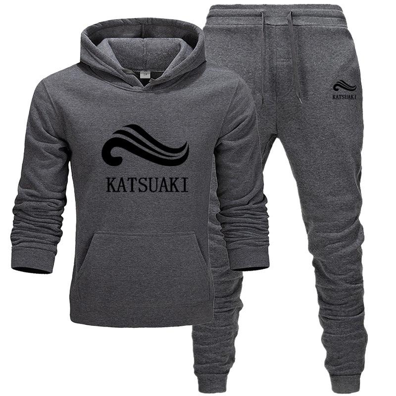 Fashion KATSUAKI Men Track Suit Hoodies Suits Brand  Men Hip Hop Sweatshirts+Sweatpants Autumn Winter Fleece Hooded Pullover
