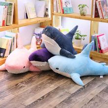 O luxuoso do tubarão rosa brinca a boneca animal macia do coxim enchido travesseiro pelúcia brinquedo do tubarão boneca para a menina caçoa 4 cor 60/80/100/140cm