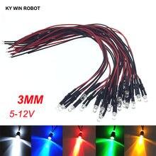 10 pces 3mm led 5-12 v 20cm pre-prendido branco vermelho verde azul amarelo uv rgb diodo lâmpada decoração diodos diodos de luz pré-soldada