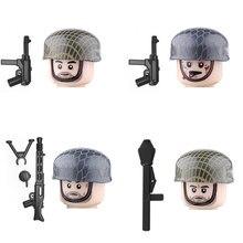 Ww2 exército outono soldados figuras blocos de construção militar infantaria comandante camuflagem capacete armas armas peças tijolos brinquedos